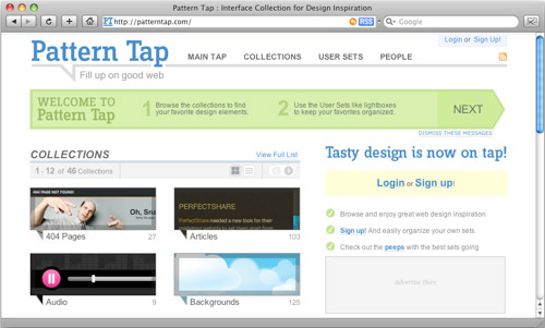 Skjermbilde av patterntap.com